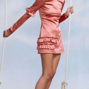 Cynthia Rowley $395 4 Small Aeris Satin Dress Pink